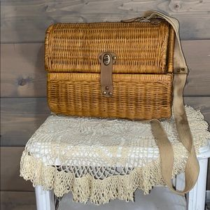 Vintage wicker wine basket with strap